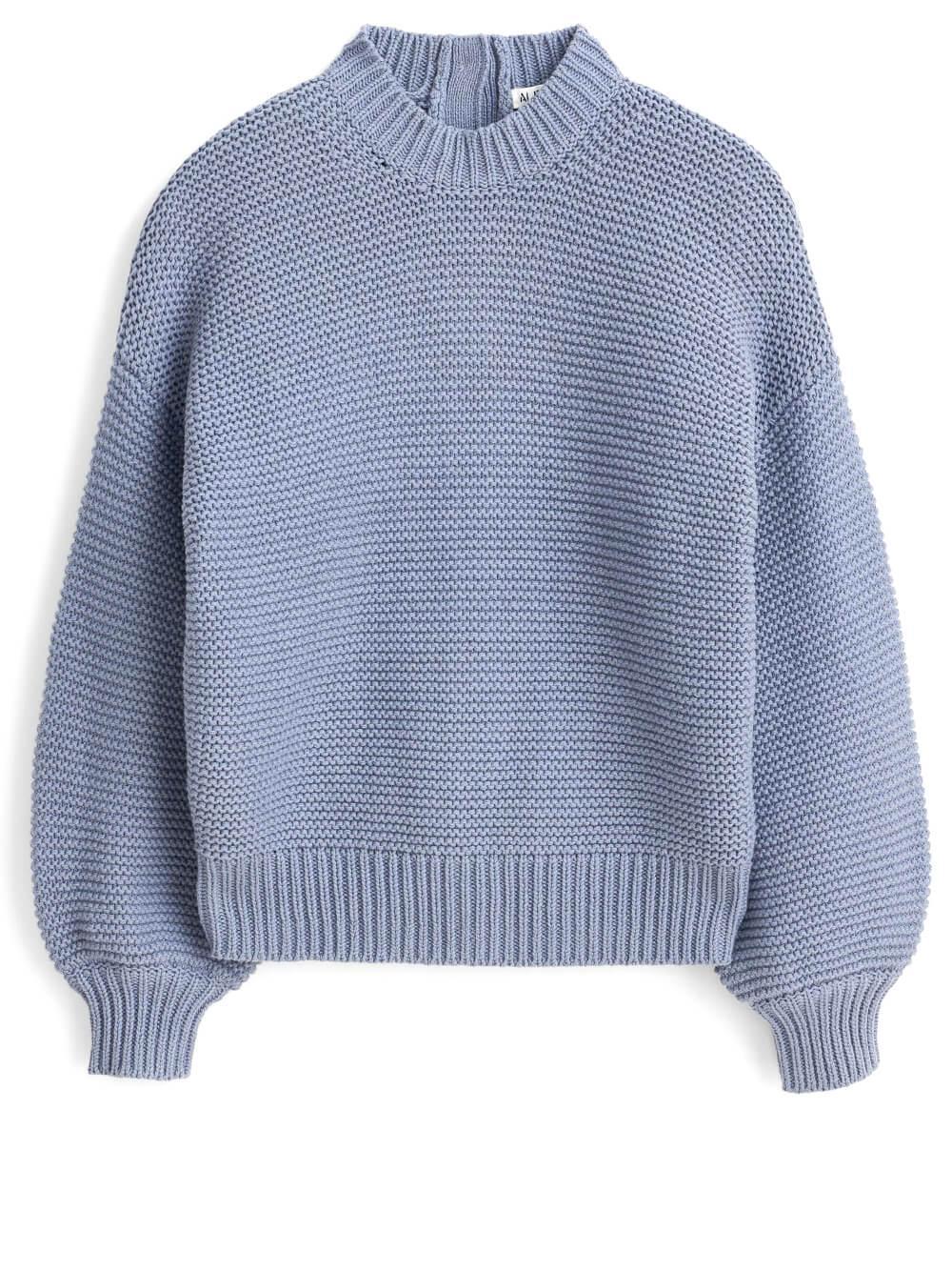 Buttonback Crewneck Sweater
