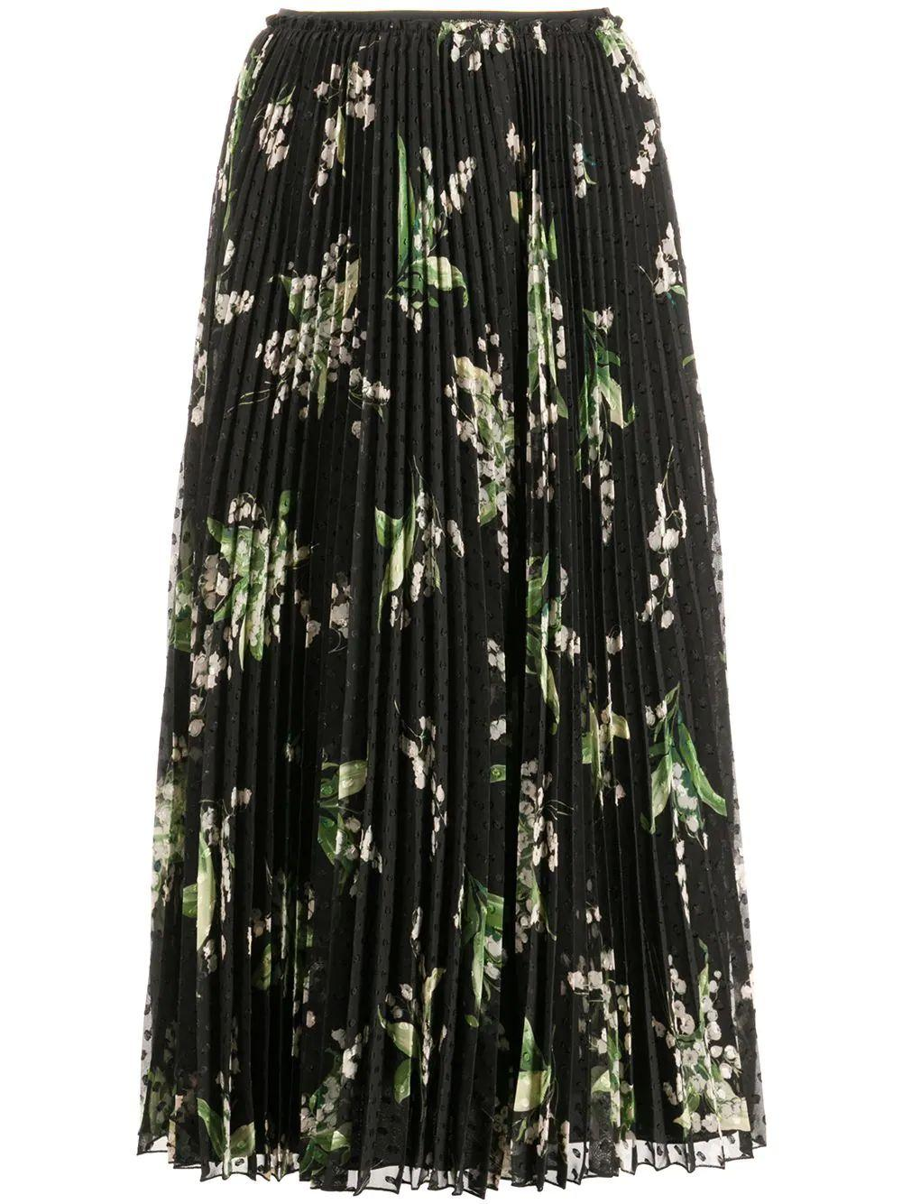 Floral Pleated Midi Skirt Item # VR3RAC205LV