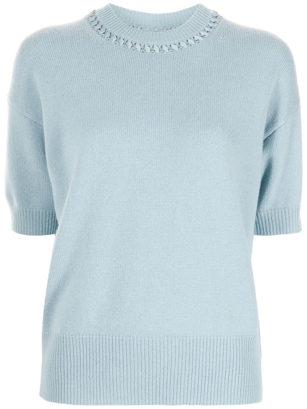 Ribbon Trim Cashmere Sweater Item # L0118706