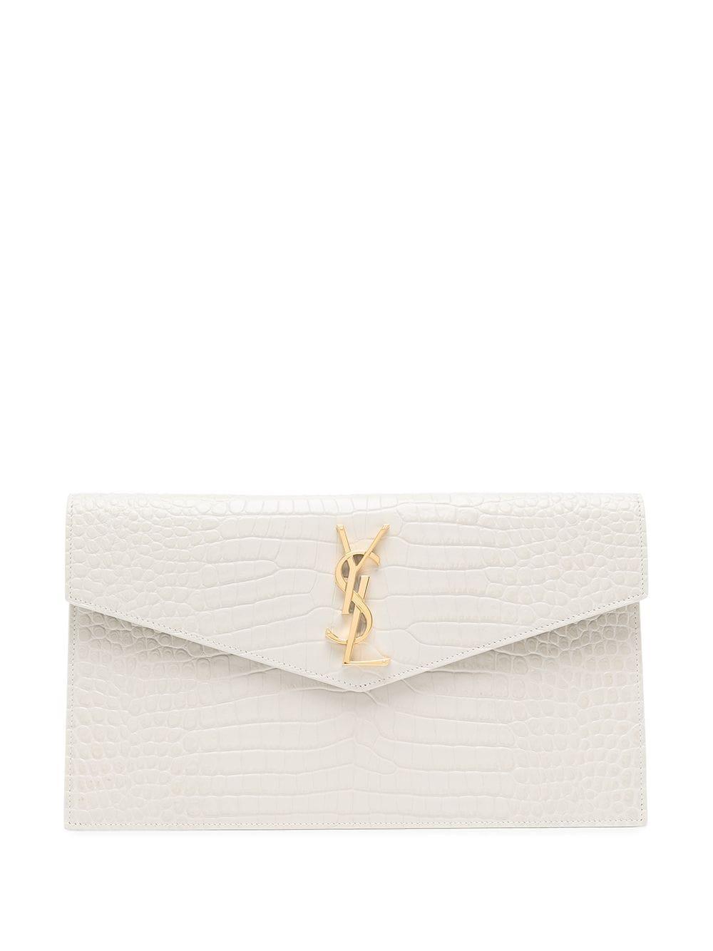 Medium Croc-Embossed Envelope Pouch