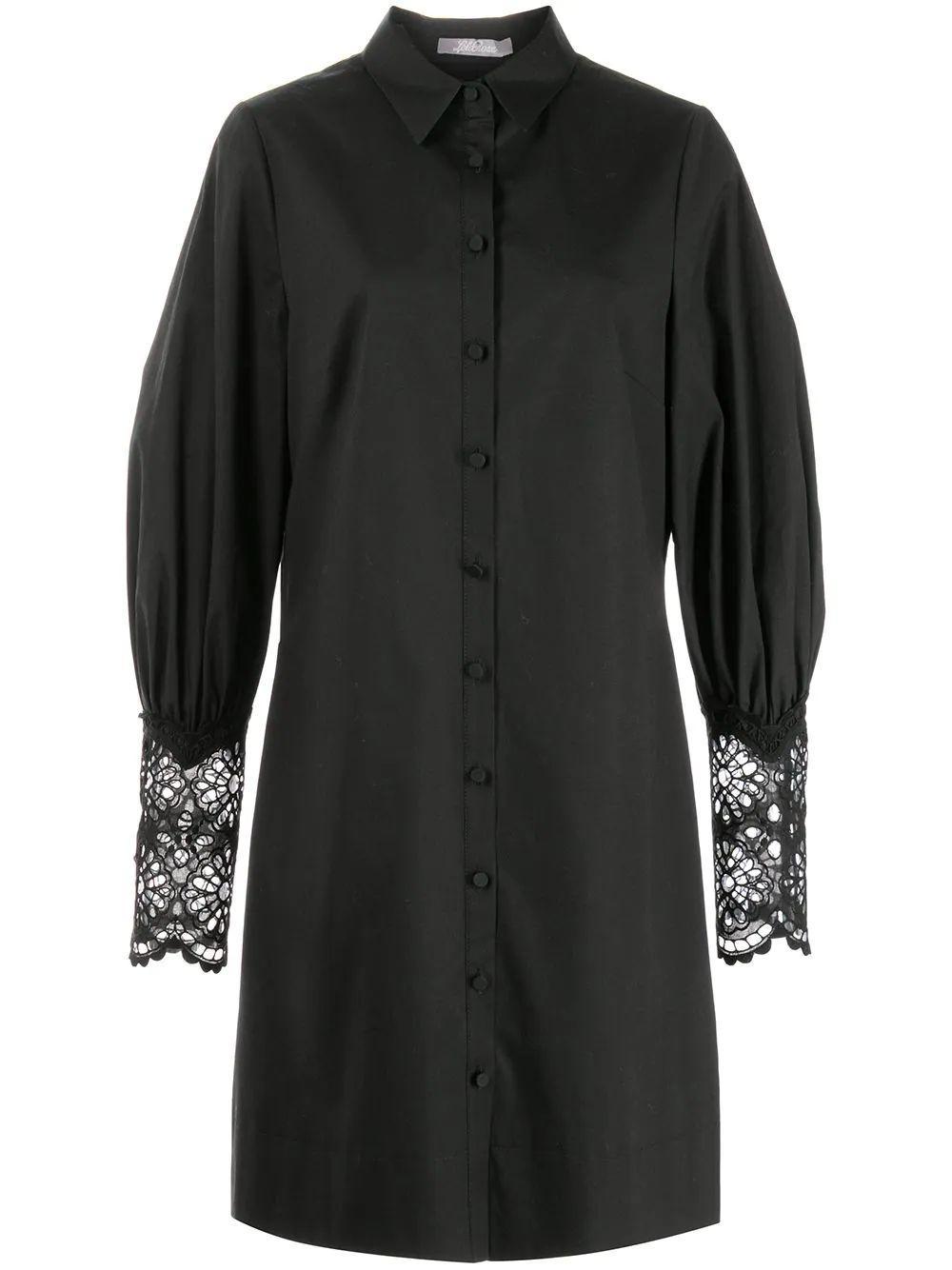 Lace Cuff Shirt Dress Item # S219662