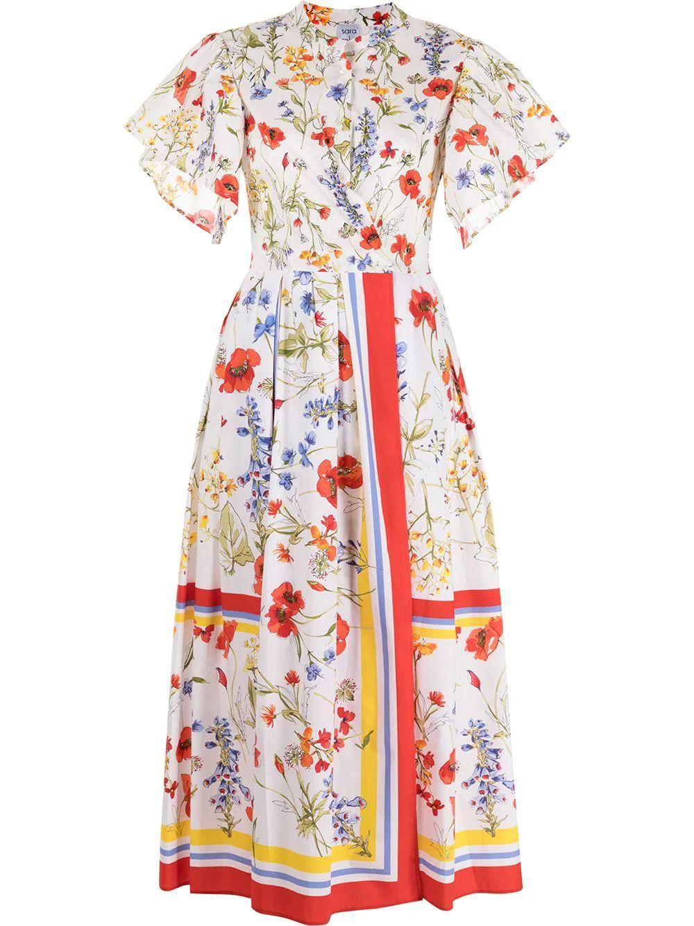 Fiore Wild Floral Shirt Dress Item # FIORE3130A-SS21
