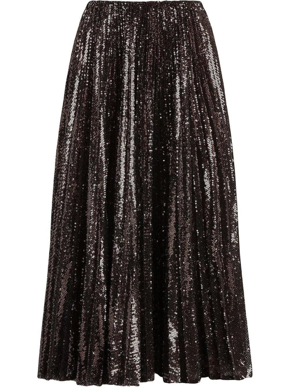 Pleated Sequin and Tulle Trivelas Skirt