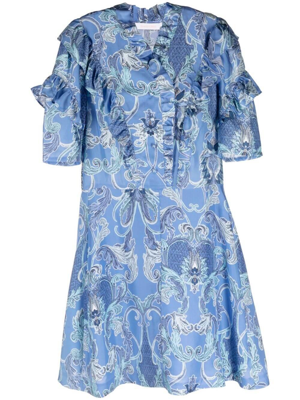 Paisley Printed Silk Dress Item # CHS21URO06029