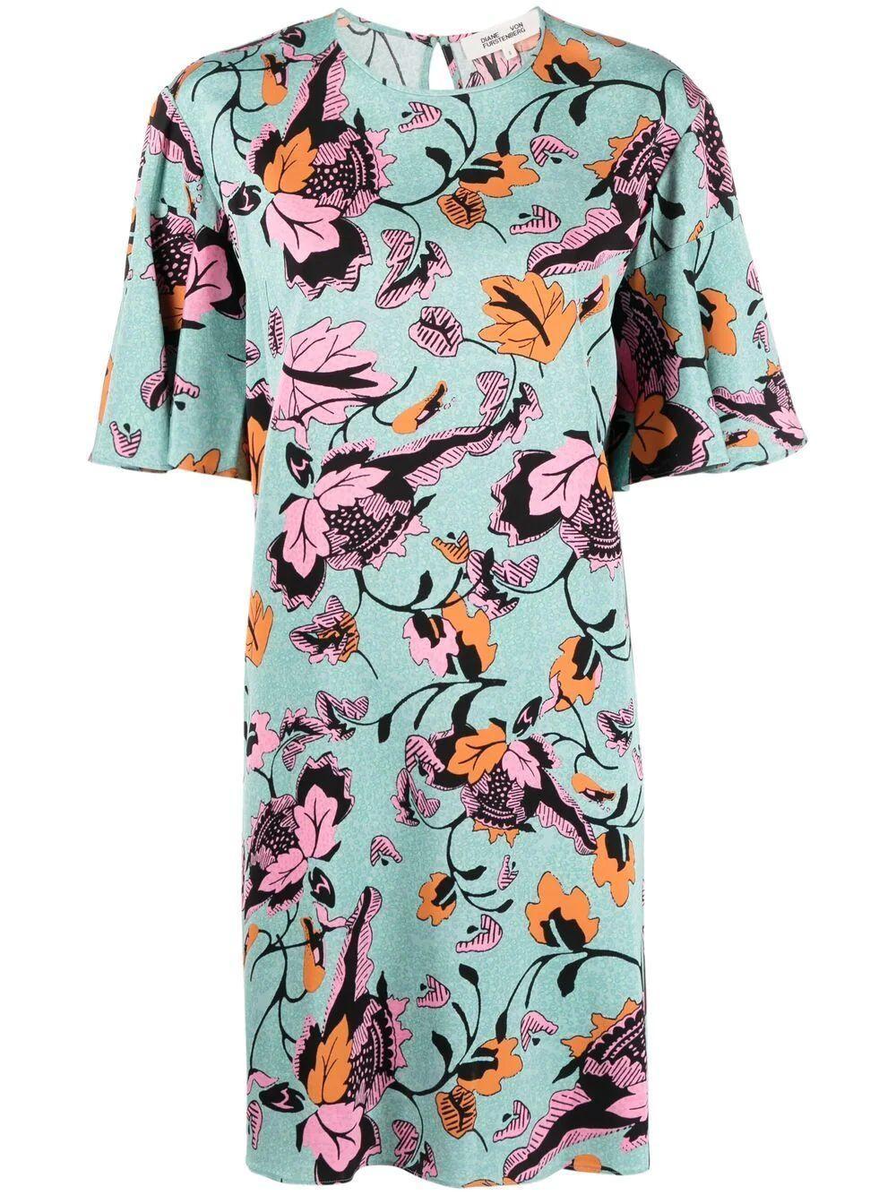 Diane Von Furstenberg Arlene Floral Shift Dress Item # DVFDS1P023