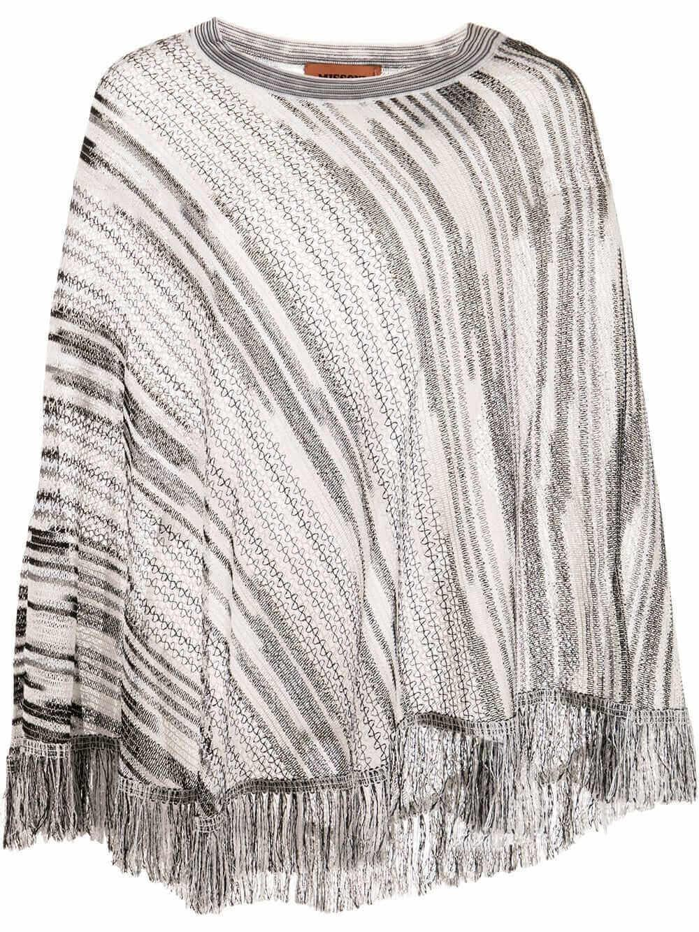 Poncho With Fringe Trim