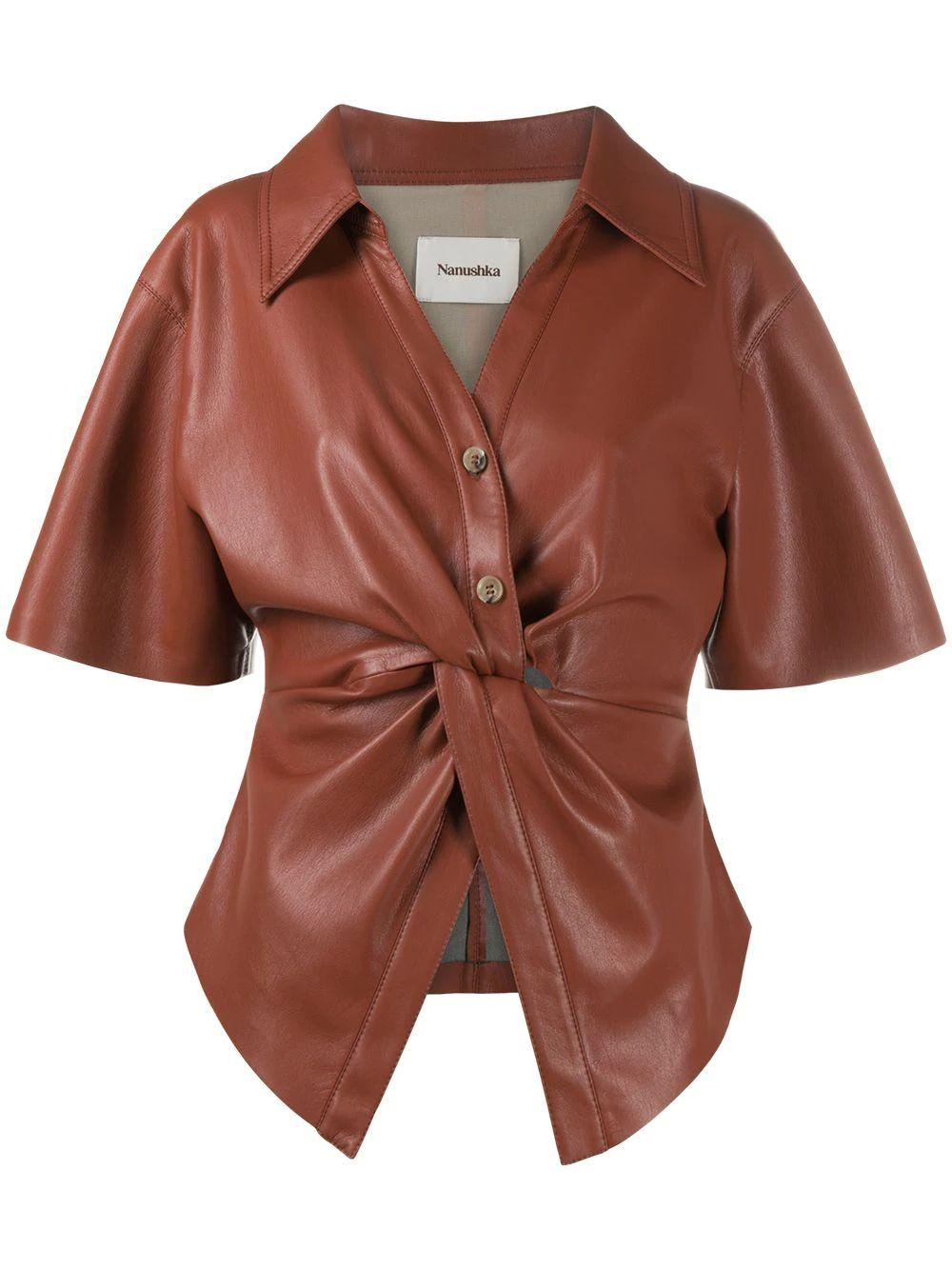 Thora Twist Front Leather Top