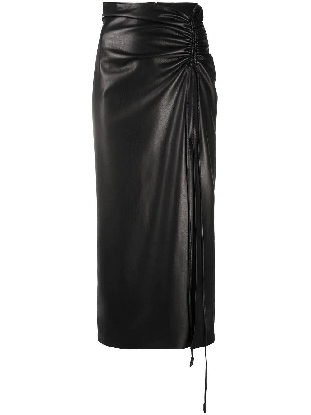 Malorie Faux Leather Midi Skirt Item # NW21SSSK01299