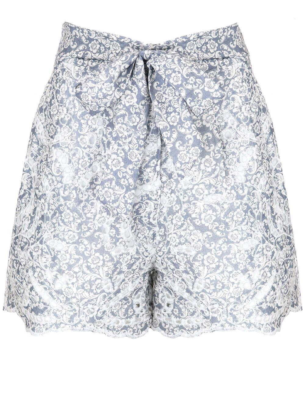 Indigo Grey Scroll Shorts