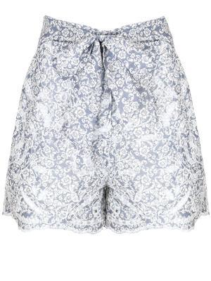 Indigo Grey Scroll Shorts