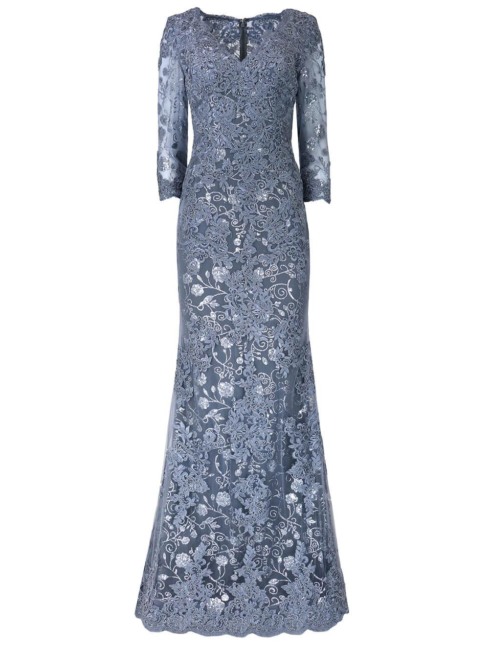 Long Sleeve Lace Gown Item # JVN02321