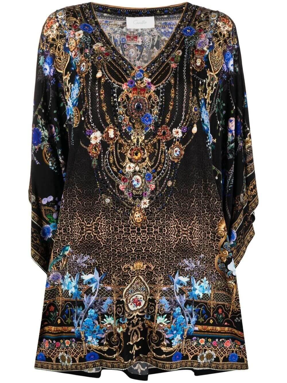 Printed V- Neck Mini Dress Item # 000010958-PALAPLAY