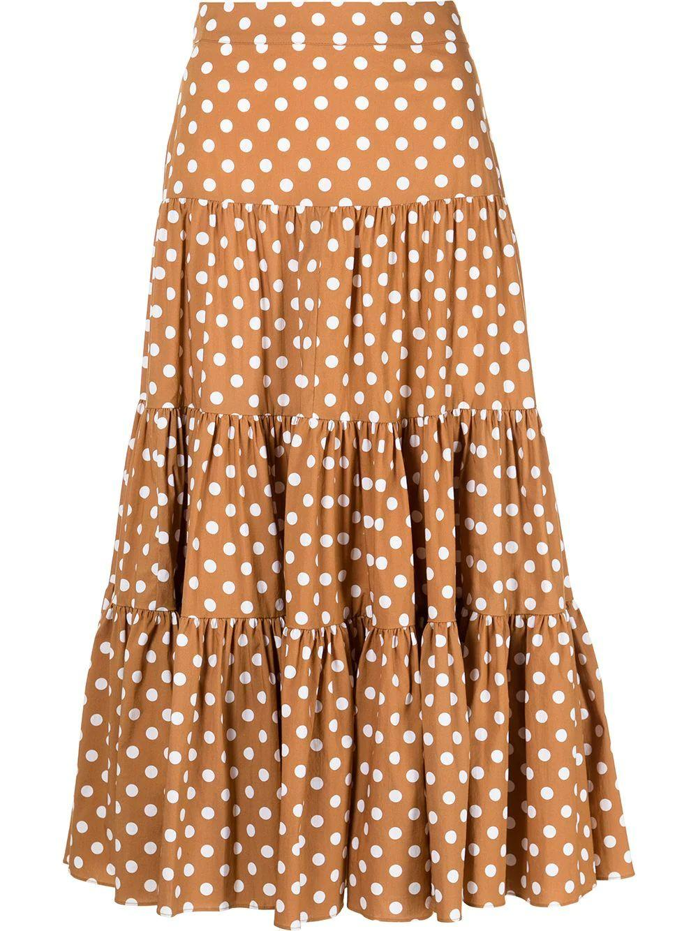 Peasant Polka Dot Tiered Skirt