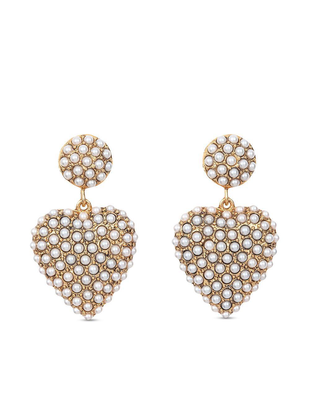 Amelie Heart Pearl Drop Earrings Item # 111RB56