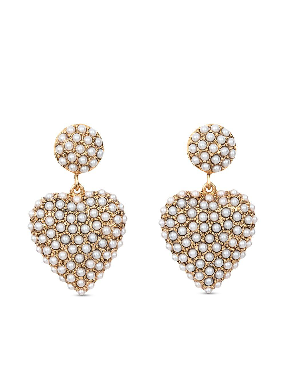 Amelie Heart Pearl Drop Earrings