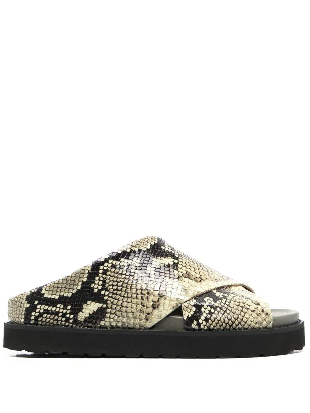 Embossed Snake Slide Sandal