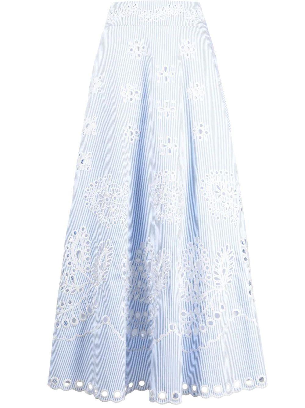 Embroidered Stripe Midi Skirt Item # VR0RA01M5T4