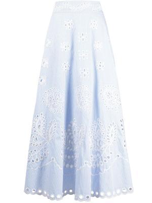 Embroidered Stripe Midi Skirt