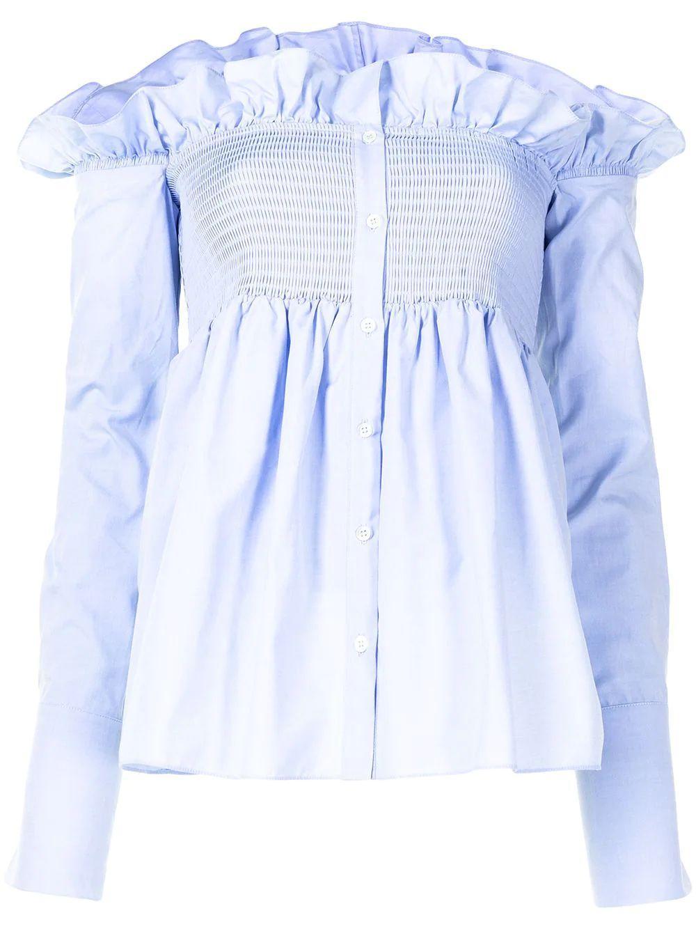 Smocked Off The Shoulder Oxford Shirt Item # 2221WSH002579A