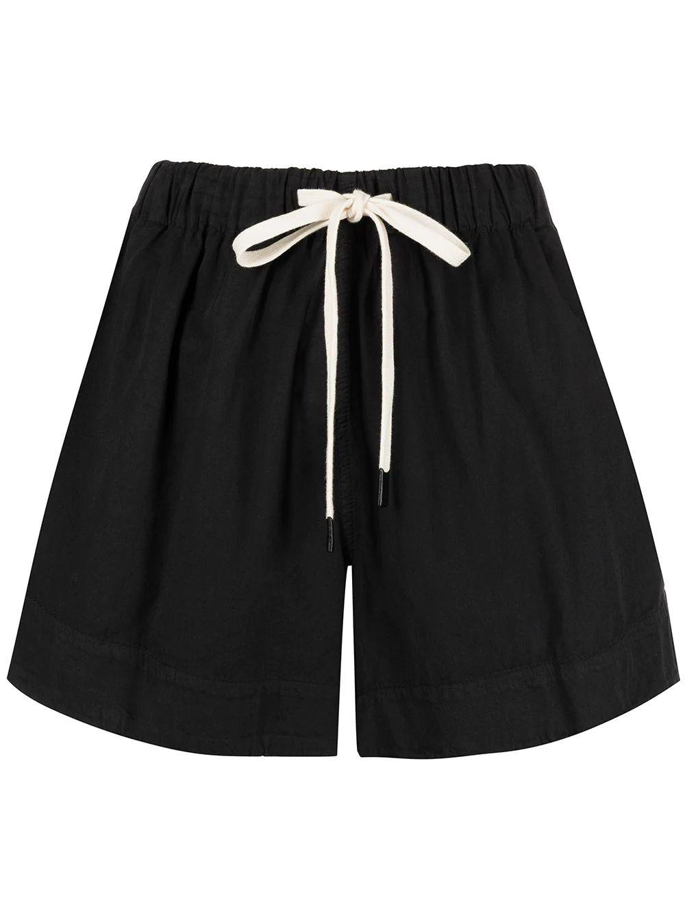 Twill Flared Mini Shorts