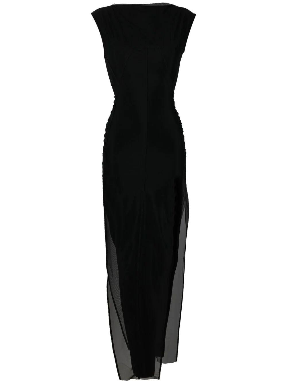 Side Slit Dress With Tulle Overlay