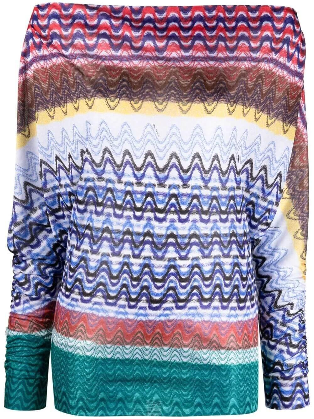 Zig Zag Off the Shoulder Top