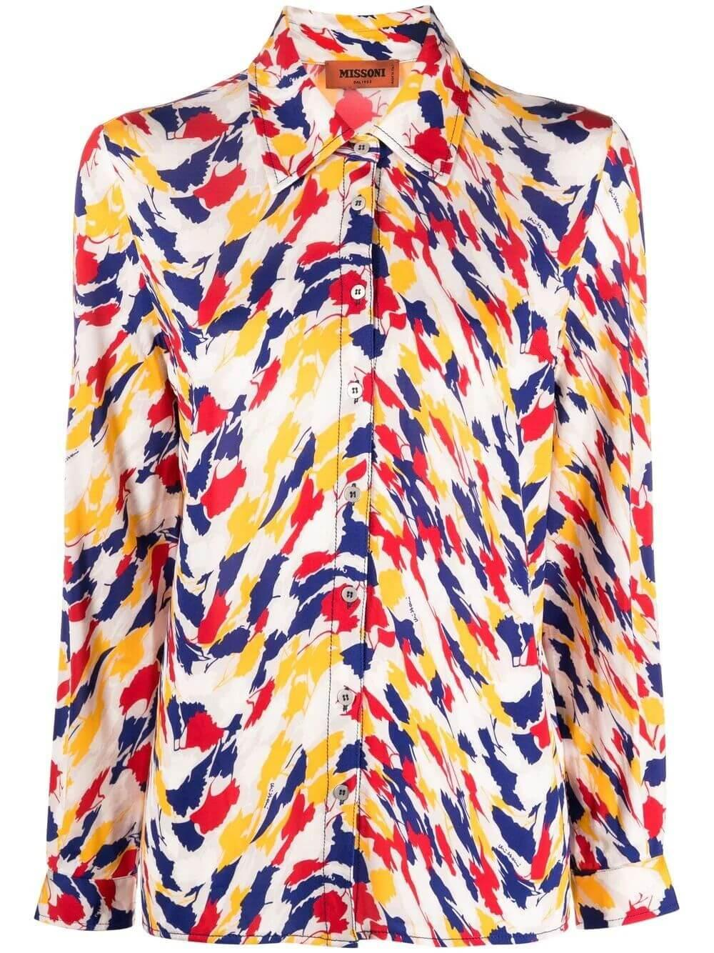 Printed Silk Button Up Item # MDJ00218-BJ0074