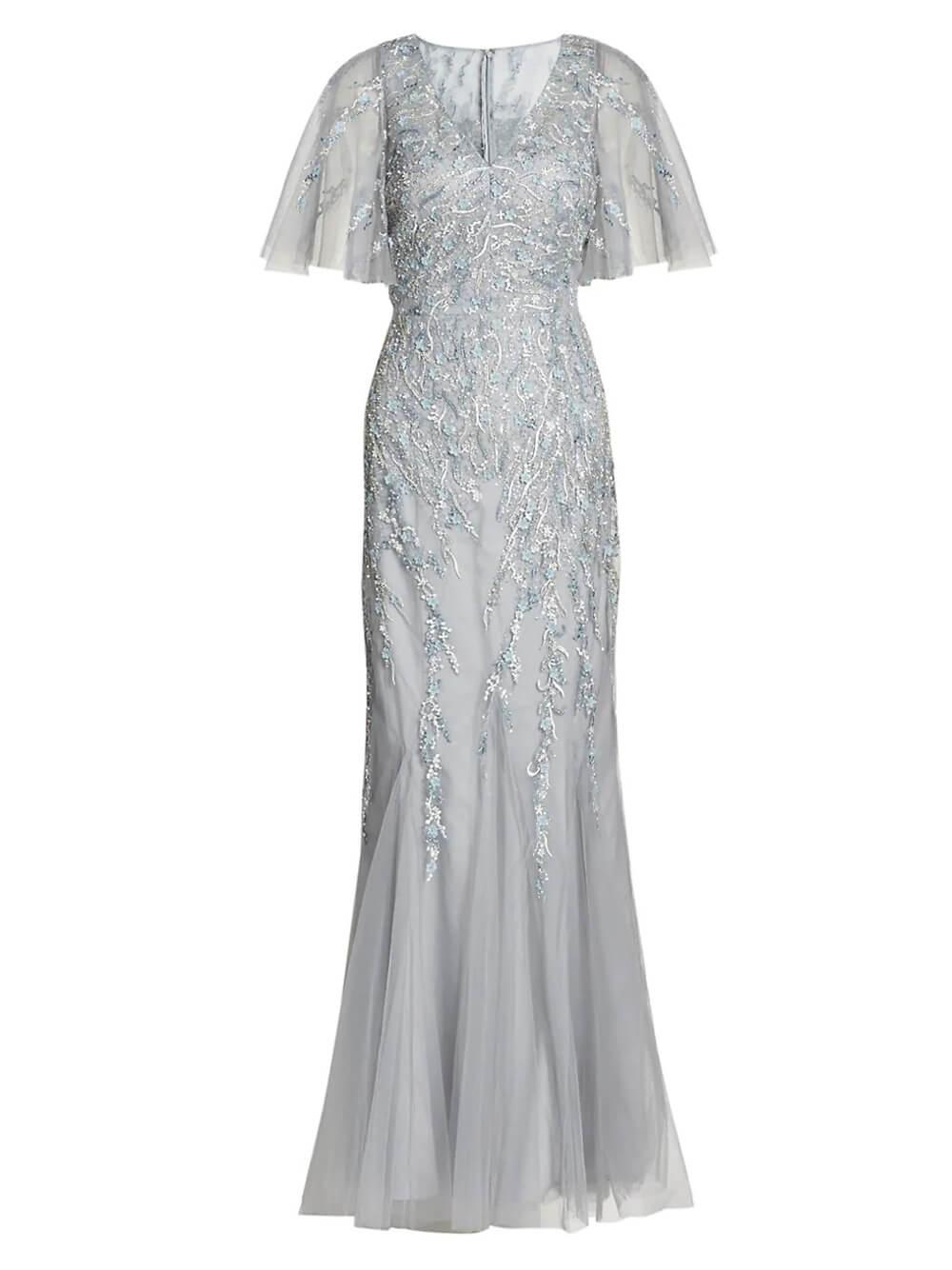 Flutter Sleeve Beaded Gown Item # 219010-S21