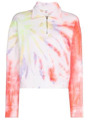 70s Tie Dye Half Zip Sweatshirt
