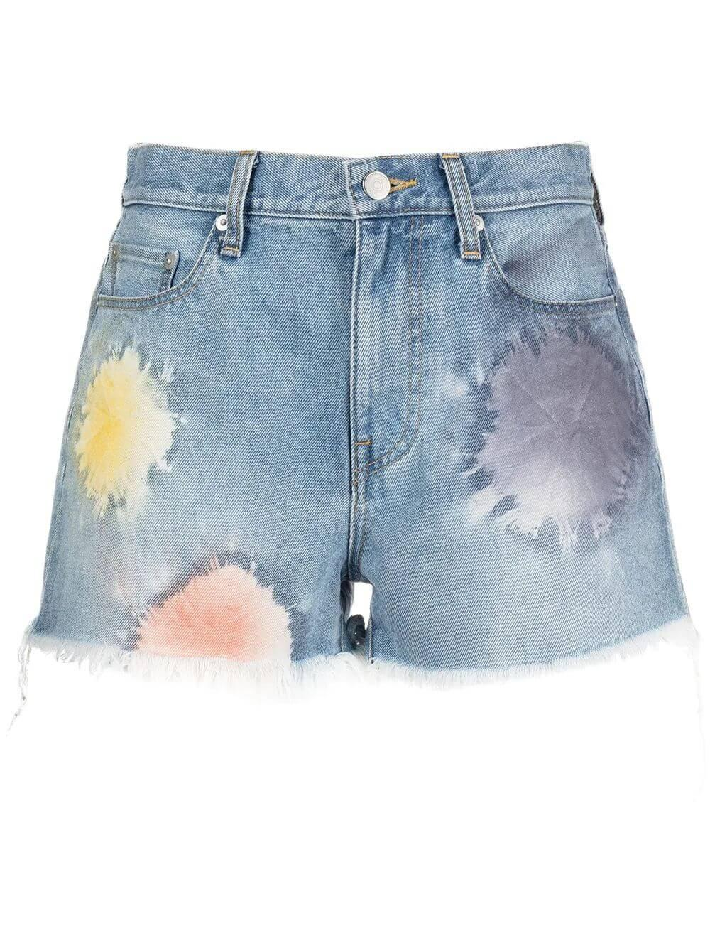 High Waist Shibori Bloom Cutoff