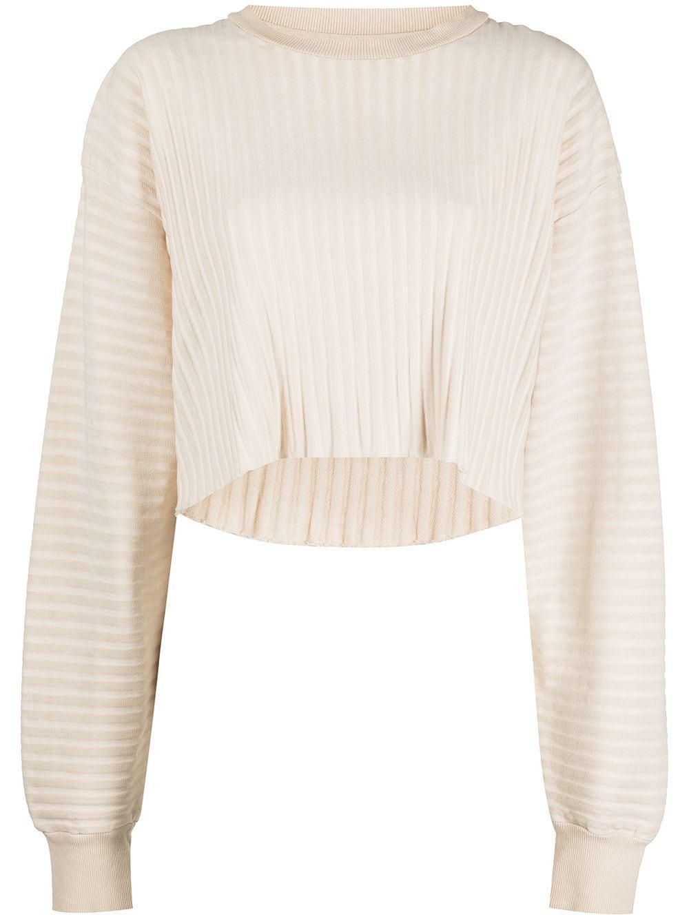 Ribbed Terry Cropped Sweatshirt Item # WB174B30746A