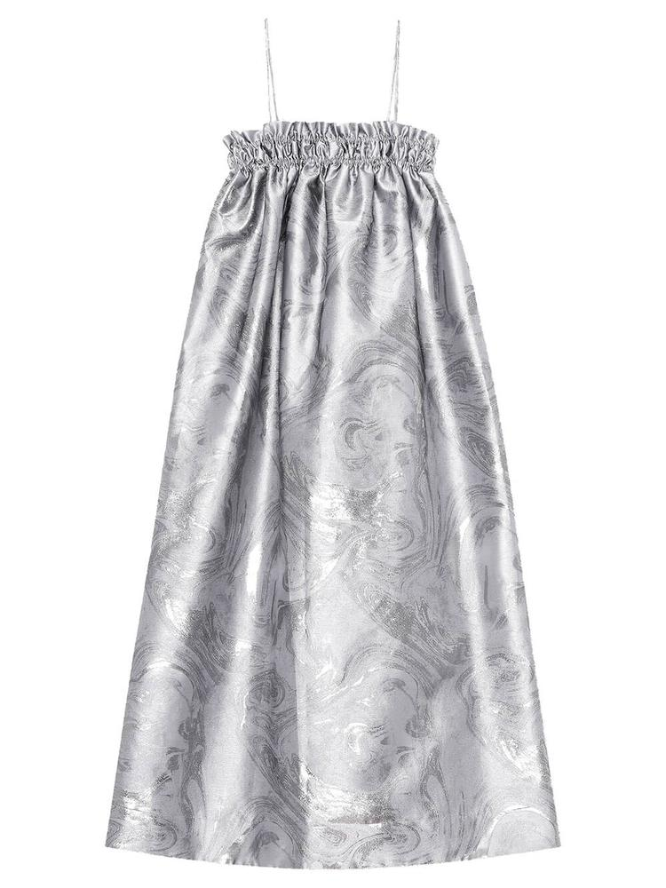Shiny Jacquard Midi Dress