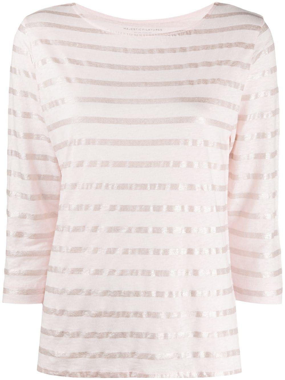 Metallic Stripe Stretch Linen Top