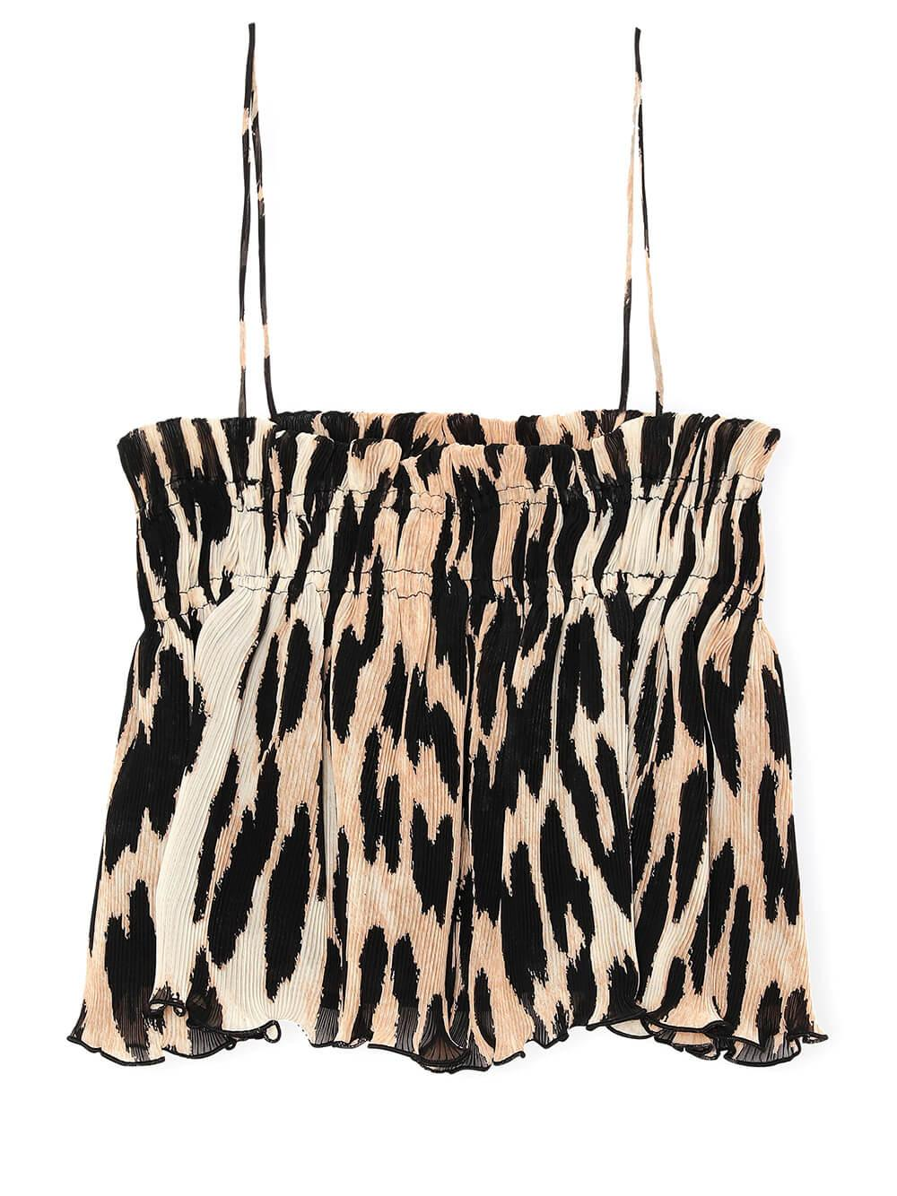 Pleated Leopard Cropped Tank
