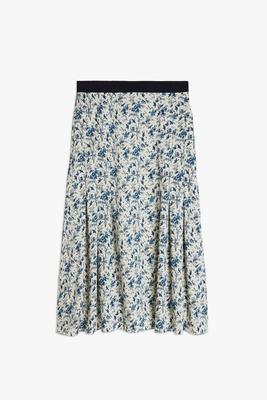 Pleated Twil Floral Skirt
