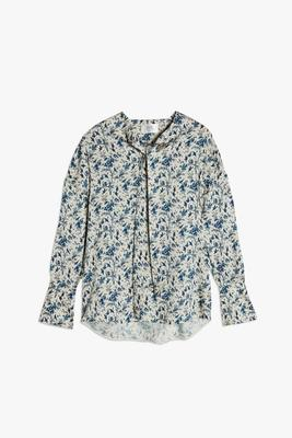 Tie Detail Twill Floral Top