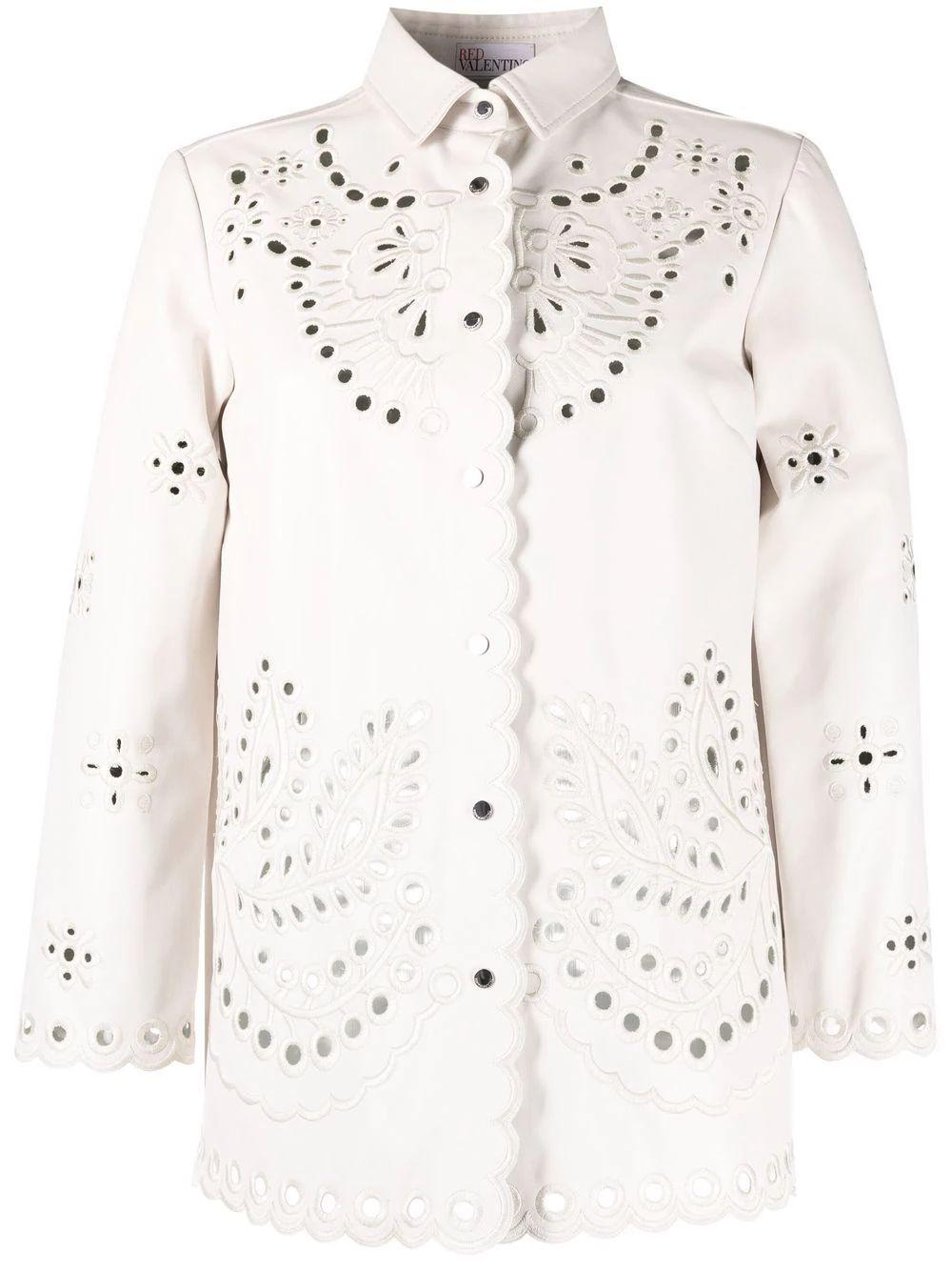 Leather Eyelet Shirt Jacket