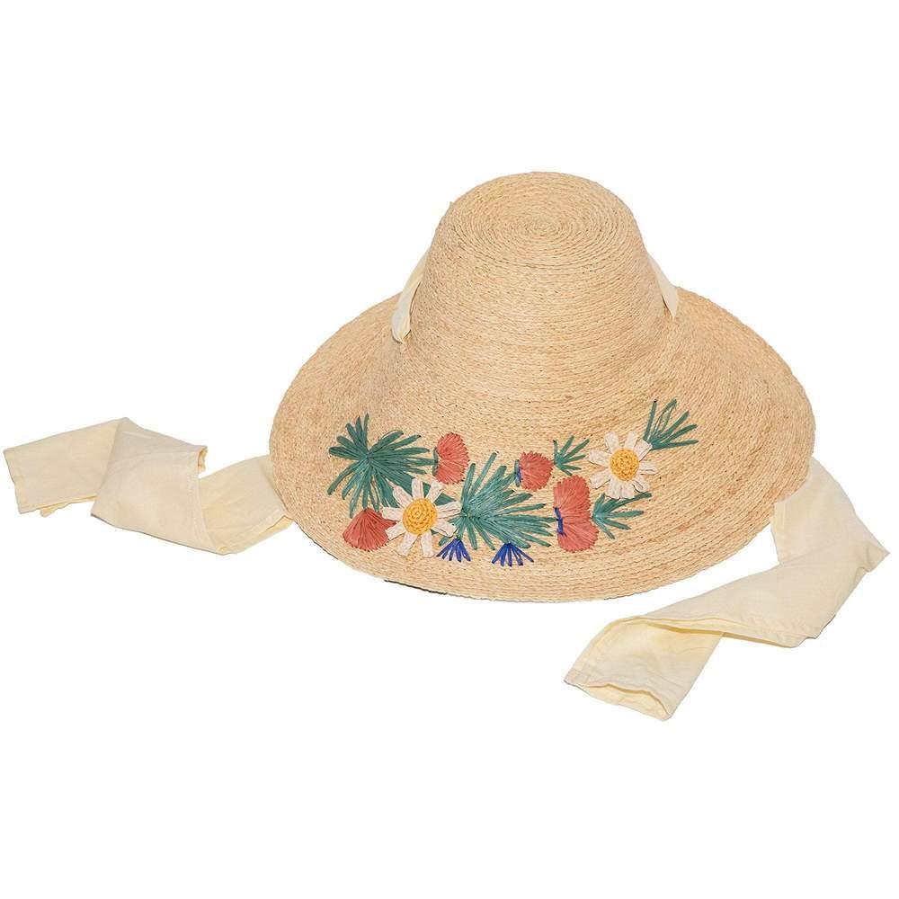 Wildflower Embroidered Straw Hat Item # LSHT061WF