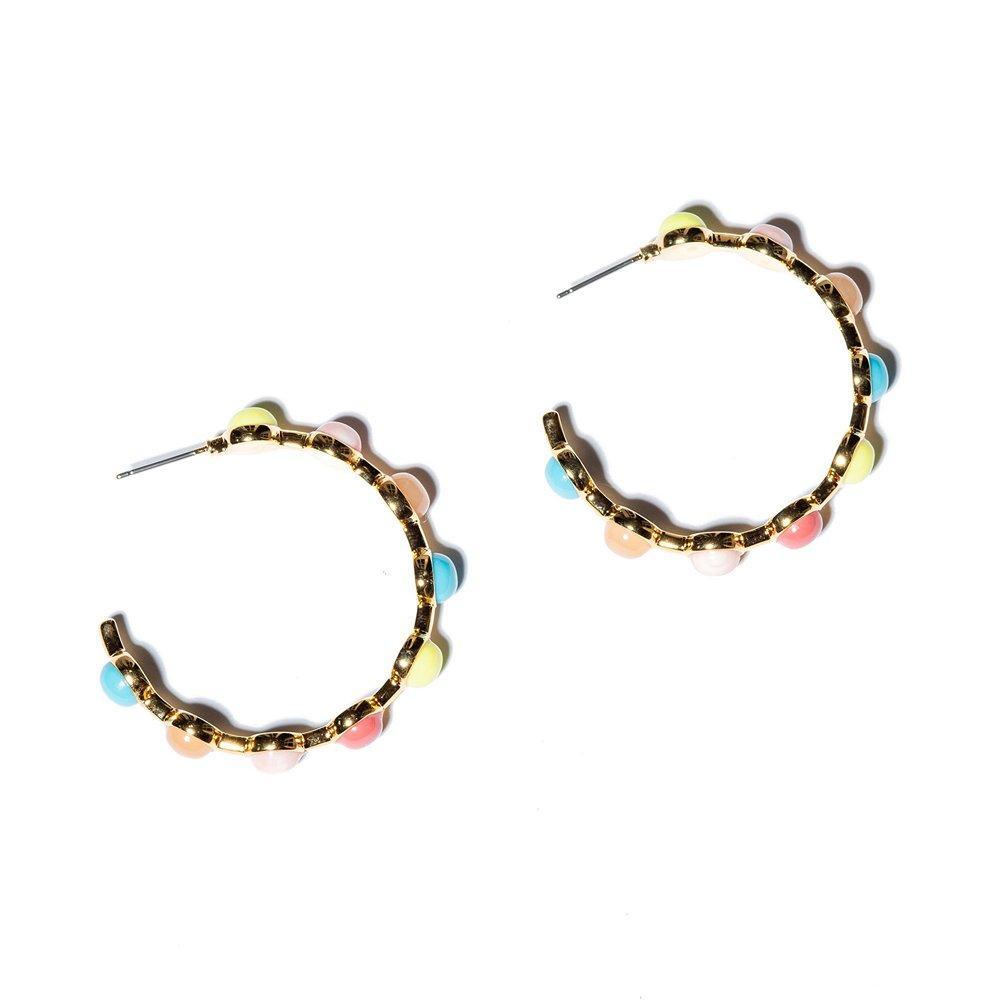 Cabochon Hoop Earrings