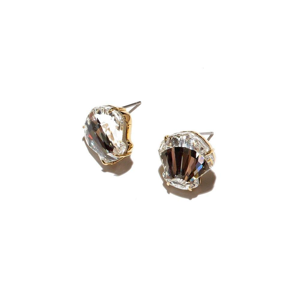 Swarovski Crystal Shell Button Earrings Item # LS1018IV