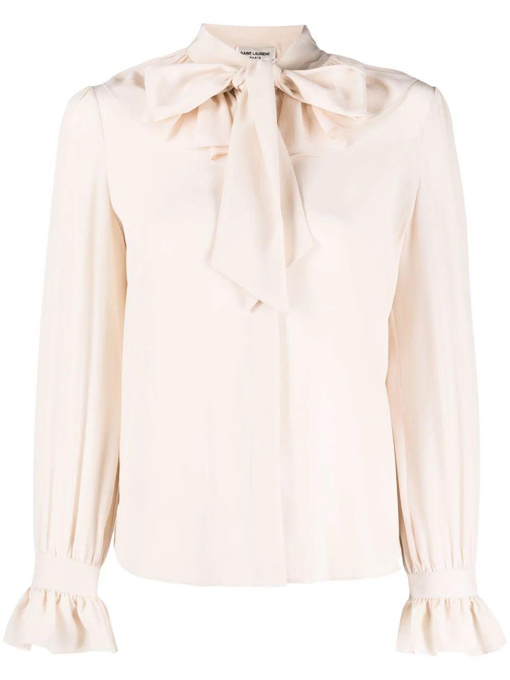 Tie Neck Silk Blouse Item # 656561Y100W