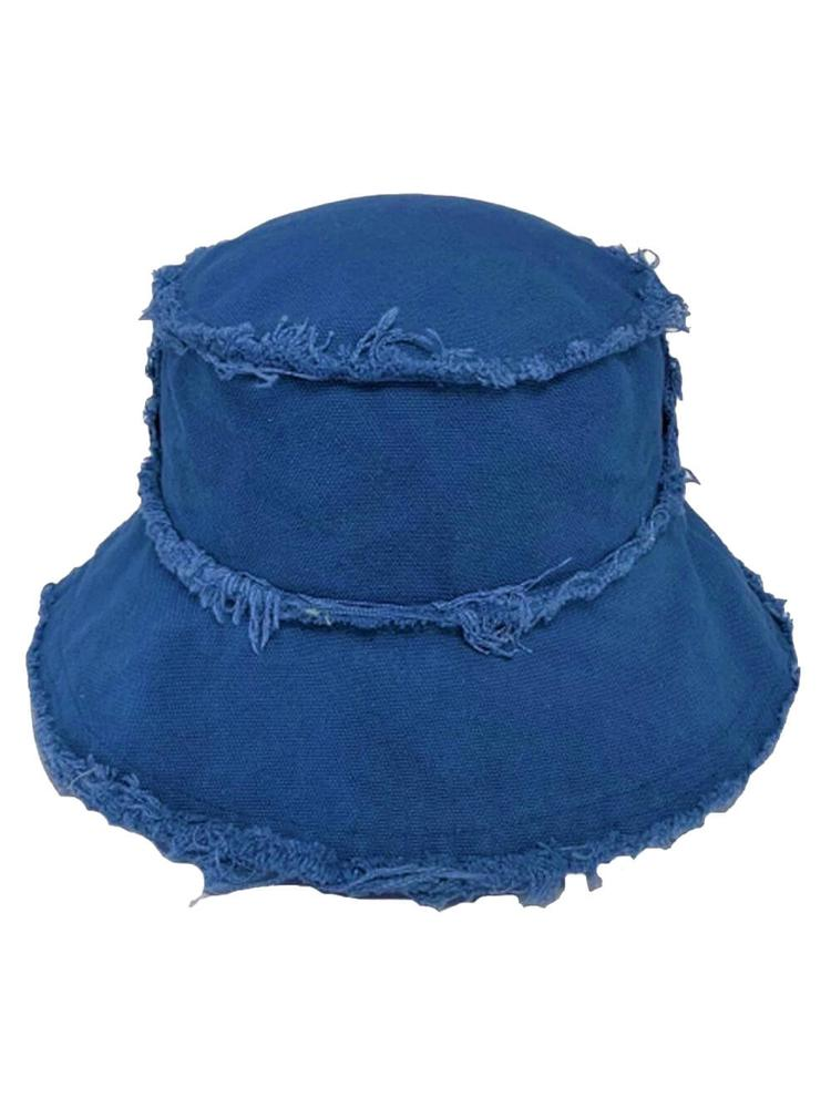 Canvas Bucket Hat with Frayed Edges