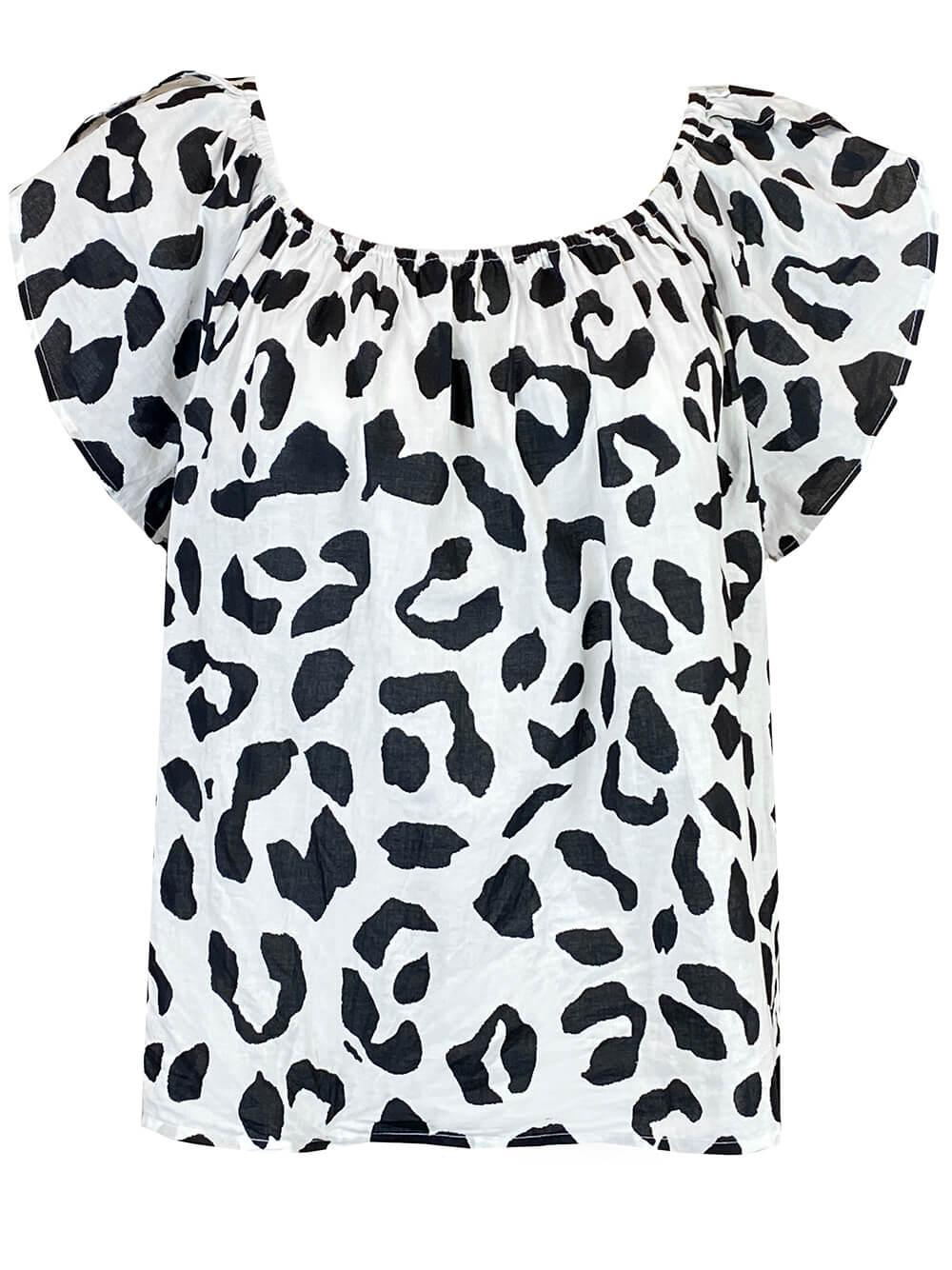 Leopard Print Voile Off Shoulder Top
