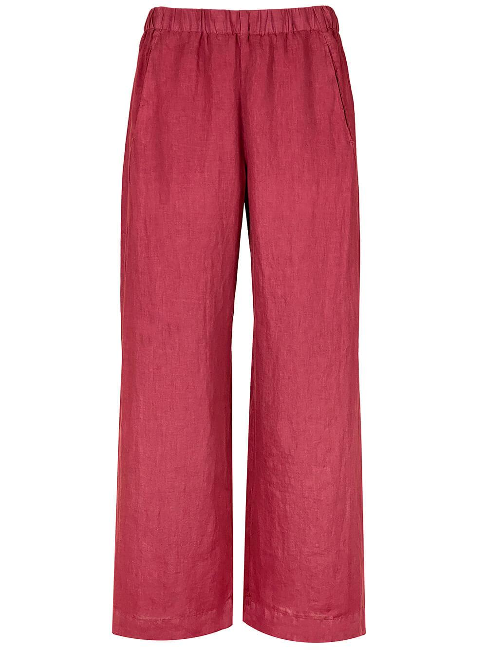 Linen Cropped Wide Leg Pants