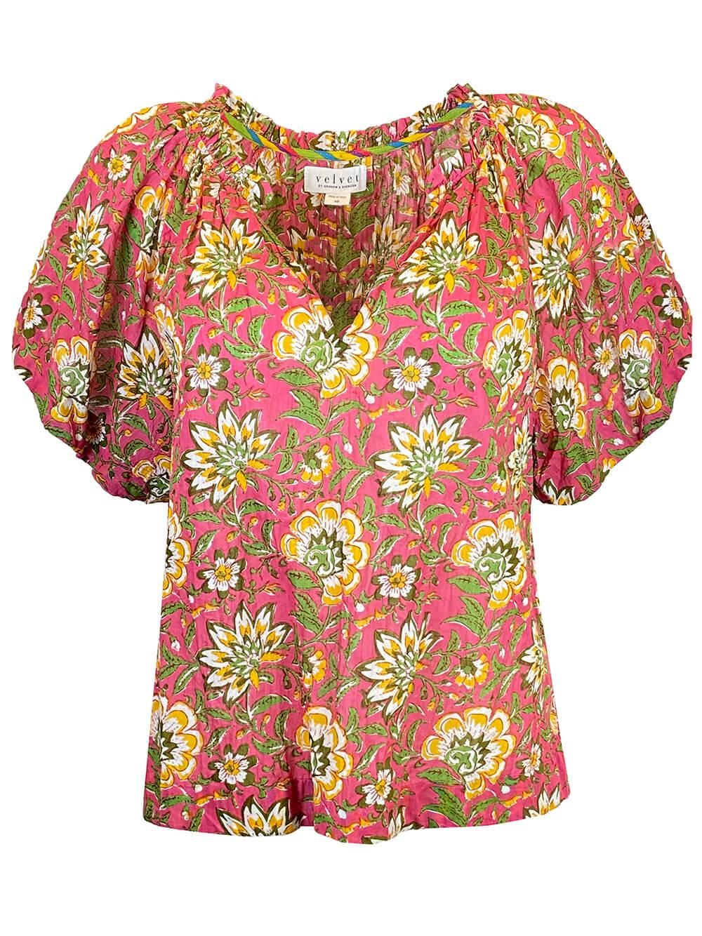 Printed Floral Short Sleeve Top Item # DESTINY04