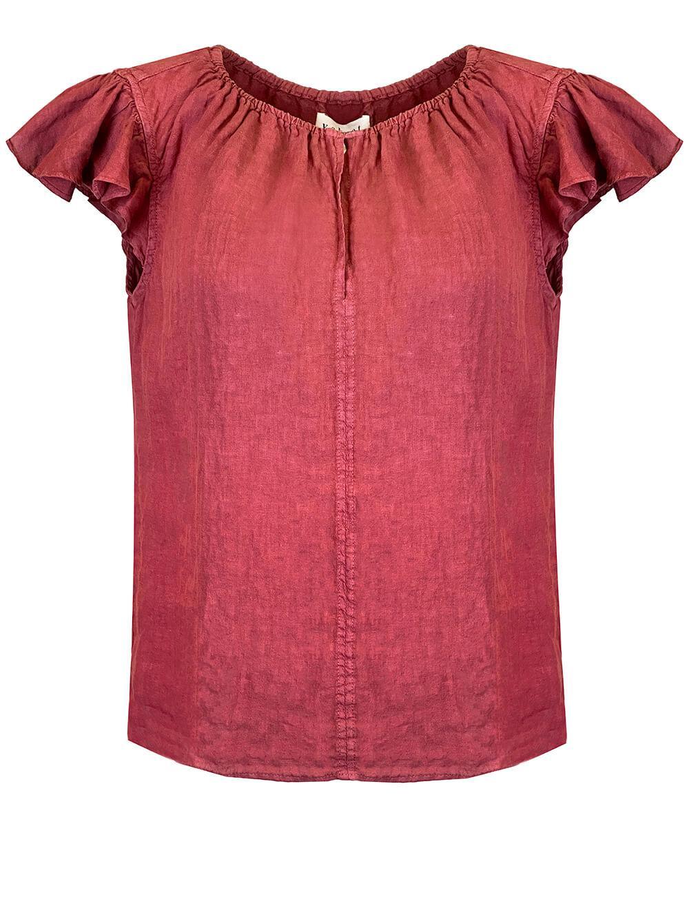 Linen Ruffle Sleeve V- Neck Top Item # IRENE04