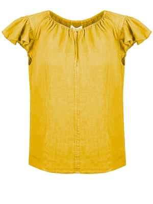 Linen Ruffle Sleeve V-Neck Top