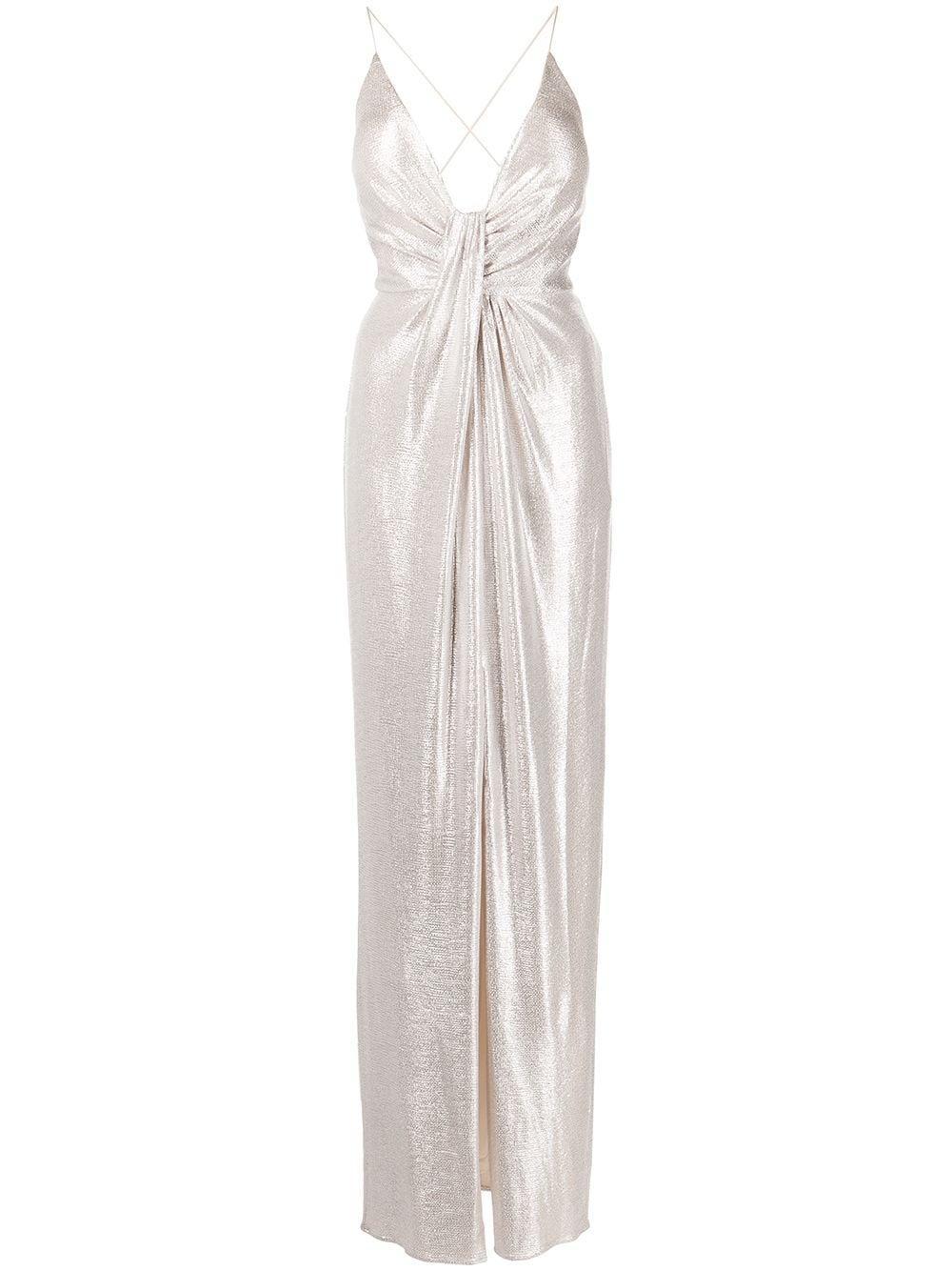 V-Neck Metallic Column Dress