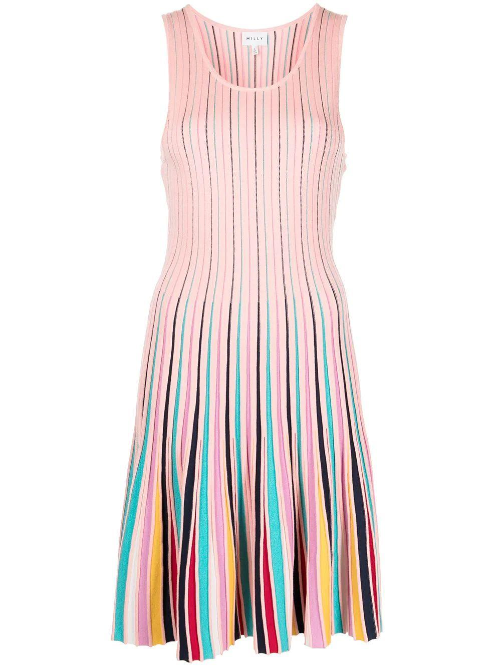 Multi Stripe Fit and Flare Dress