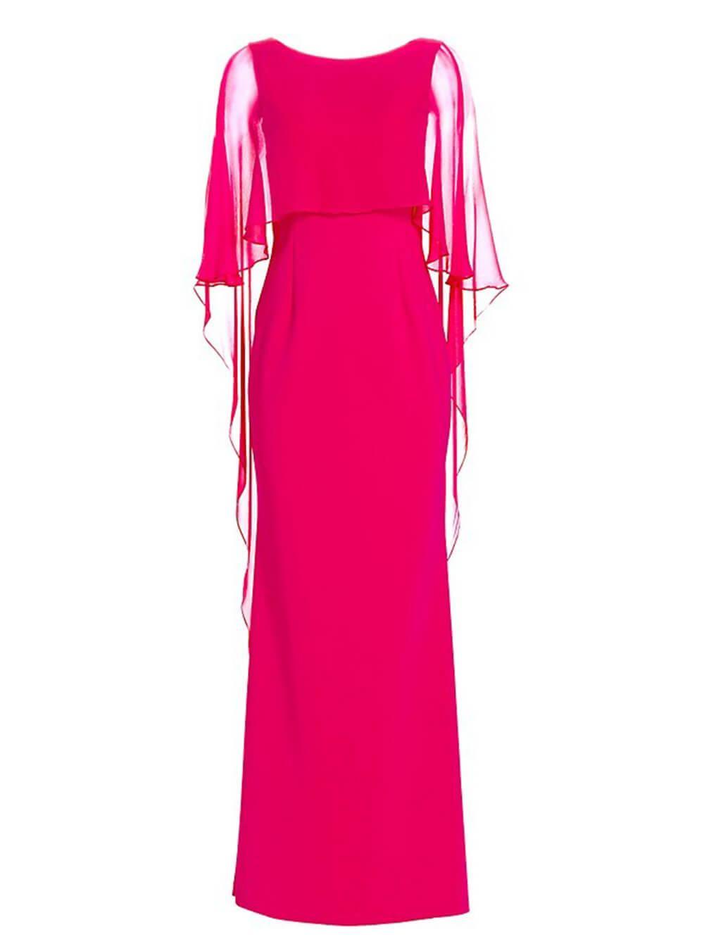 Scuba Dress With Chiffon Overlay